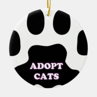 Cat Paw Adopt Cats with Cute Lettering FUN! Round Ceramic Ornament