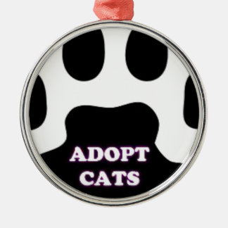 Cat Paw Adopt Cats with Cute Lettering FUN! Silver-Colored Round Ornament