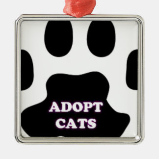 Cat Paw Adopt Cats with Cute Lettering FUN! Silver-Colored Square Ornament