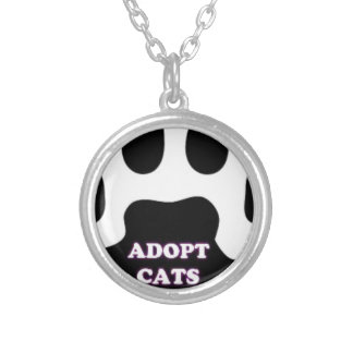 Cat Paw Adopt Cats with Cute Lettering FUN! Silver Plated Necklace