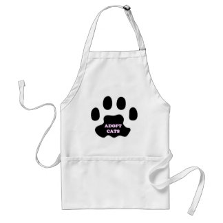 Cat Paw Adopt Cats with Cute Lettering FUN! Standard Apron