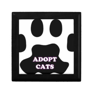 Cat Paw Adopt Cats with Cute Lettering FUN! Trinket Box