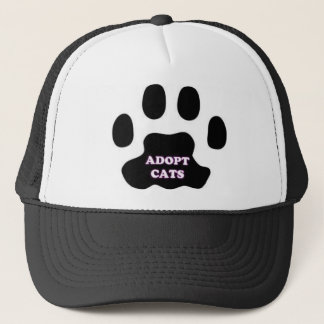 Cat Paw Adopt Cats with Cute Lettering FUN! Trucker Hat
