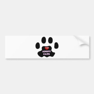 Cat Paw Adopt Cats with Cute Red Heart Kittahz Bumper Sticker