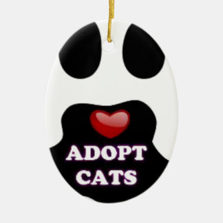 Cat Paw Adopt Cats with Cute Red Heart Kittahz Ceramic Oval Ornament