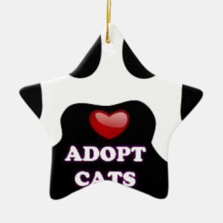 Cat Paw Adopt Cats with Cute Red Heart Kittahz Ceramic Star Ornament