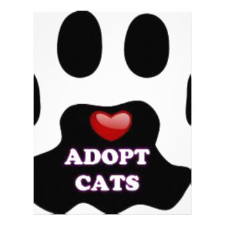 Cat Paw Adopt Cats with Cute Red Heart Kittahz Customized Letterhead