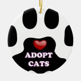Cat Paw Adopt Cats with Cute Red Heart Kittahz Round Ceramic Ornament