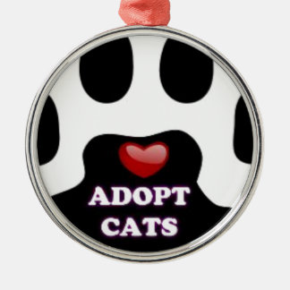 Cat Paw Adopt Cats with Cute Red Heart Kittahz Silver-Colored Round Ornament
