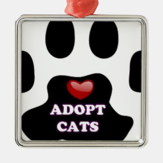 Cat Paw Adopt Cats with Cute Red Heart Kittahz Silver-Colored Square Ornament