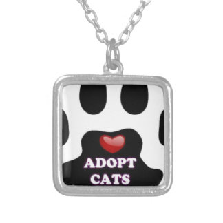 Cat Paw Adopt Cats with Cute Red Heart Kittahz Silver Plated Necklace