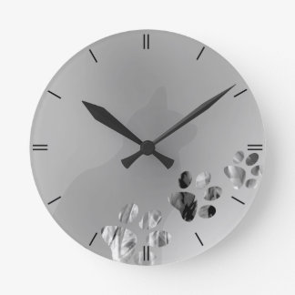 Cat Paw Black & White Round Clock
