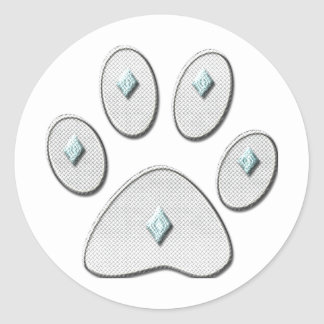 Cat Paw Outline With Diamonds Print Classic Round Sticker