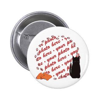 Cat Paw Prints Photo Frame Pinback Button