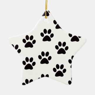 Cat Paw Prints Star Ornament