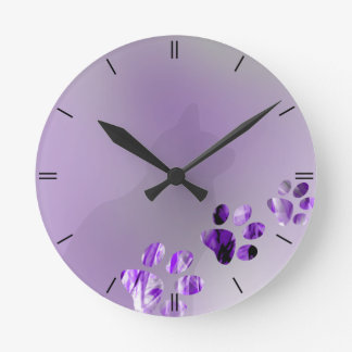 Cat Paw Violete Round Clock