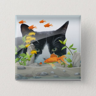 Cat Peering in Fish Tank 2 Inch Square Button