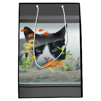 Cat Peering in Fish Tank Medium Gift Bag