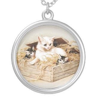 Cat Pendant Cat Family Necklace Kitten Jewelry