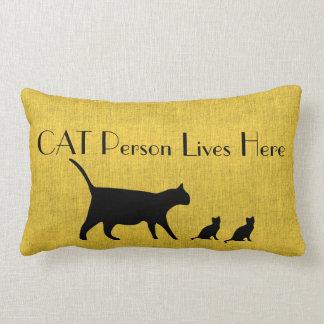 Cat Person Yellow and Black Lumbar Pillow