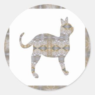 CAT pet animal CRYSTAL Jewel NVN452 KIDS LARGE Round Sticker