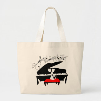 Cat & Piano Large Tote Bag