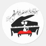 Cat & Piano Round Stickers