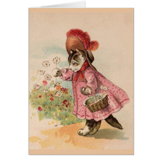 Cat Picking Flowers in a Garden, Card
