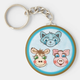 Cat Piggy and Cow blue keychain