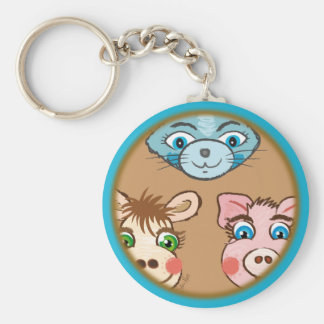 Cat Piggy and Cow brown keychain
