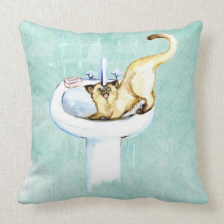 CAT PILLOW. CAT DRINKING WATER IN THE BATHROOM THROW PILLOW