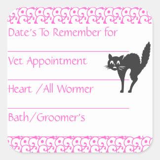 Cat Pink Reminder Stickers