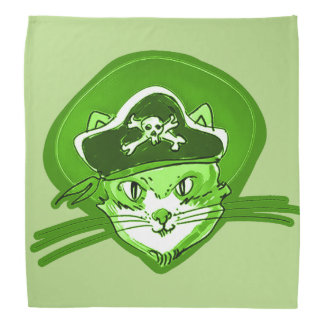 cat pirate cartoon style funny illustration bandana