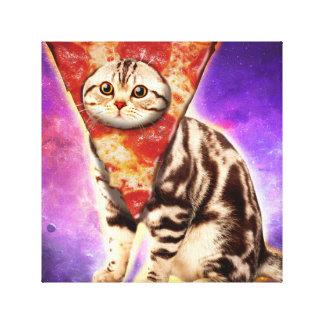 Cat pizza - cat space - cat memes canvas print
