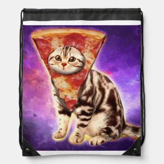Cat pizza - cat space - cat memes drawstring bag