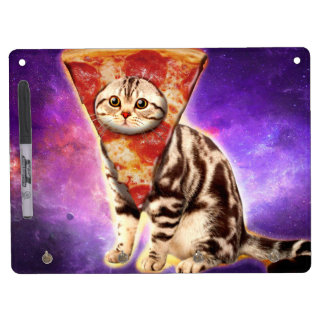 Cat pizza - cat space - cat memes dry erase board with keychain holder
