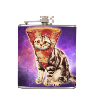 Cat pizza - cat space - cat memes hip flask