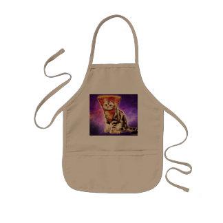 Cat pizza - cat space - cat memes kids apron