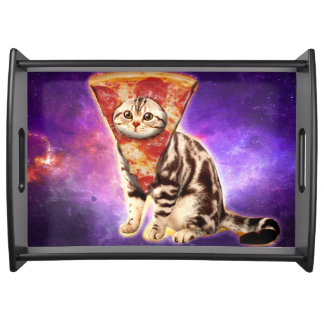 Cat pizza - cat space - cat memes serving tray