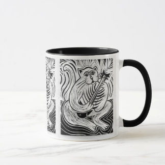 Cat Playing a Guitar in Black and White Mug