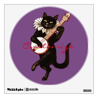 Cat playing Banjo Thunder_Cove Wall Decal