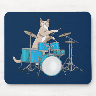 Cat Playing Drums - Mousepad