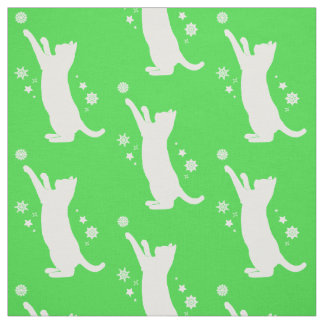 Cat Playing in the Snow at The Holidays Fabric