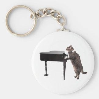 Cat Playing Piano Keychain