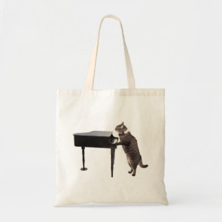 Cat Playing Piano Tote Bag