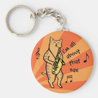 Cat Playing Saxophone Keychain