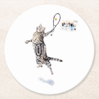 Cat Playing Tennis Round Paper Coaster