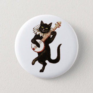 Cat Playing the Banjo 2 Inch Round Button