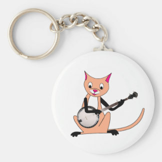 Cat Playing the Banjo Basic Round Button Keychain