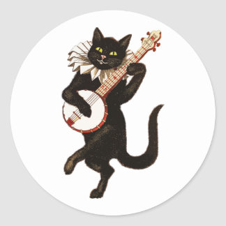 Cat Playing the Banjo Classic Round Sticker
